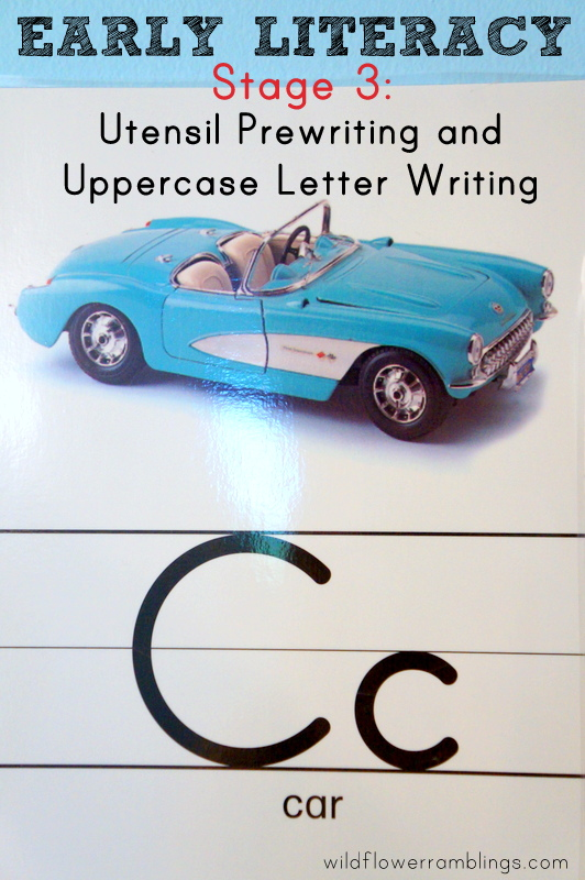 {Early Literacy Stage 3} Utensil Prewriting and Uppercase Letter Writing - Wildflower Ramblings #reading #preschool