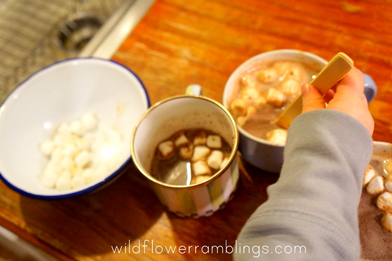 practical life skills: helping with the hot chocolate