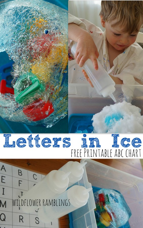 letters in ice: sensory play {with free alphabet chart} - Wildflower Ramblings