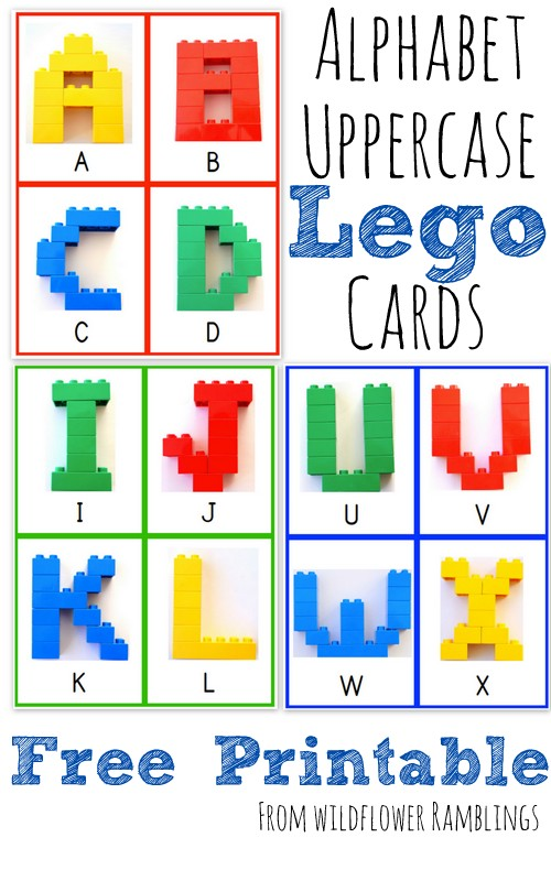 Alphabet Lego Cards - Uppercase {free printable!} from Wildflower Ramblings