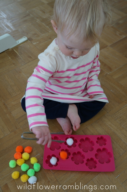 poms in ice tray 21 Activities for One Year Olds - Baby Play - Wildflower Ramblings