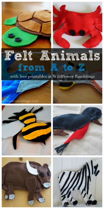 Felt Animals from A to Z with FREE printables from Wildflower Rambings