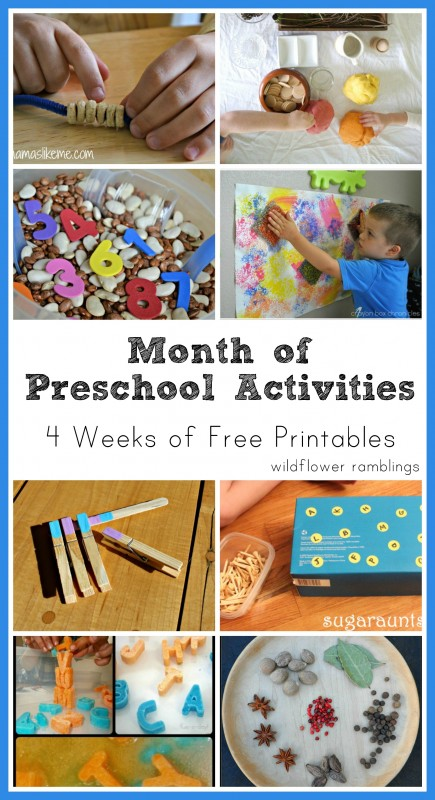 preschool activities - four weeks of free printables from wildflower ramblings